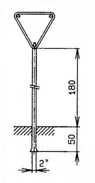 """Standrohr2"""" mit Rohrrahmen für Signal dreieckig"""