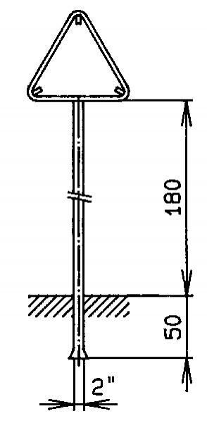 """Standrohr 2"""" mit Rohrrahmen für Signal dreieckig"""