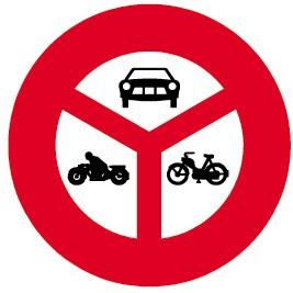 2.14 Verbot für Motorwagen, Motorräder, Mofas